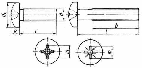 Surub cu cap mare cilindric bombat crestat si locas cruciform, pentru metale.