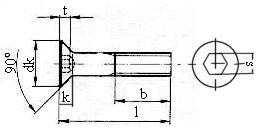 Surub cu cap ?necat si locas hexagonal, pentru metale.