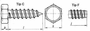 Surub cu cap hexagonal, pentru tabla